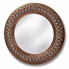 GRANDE Splendido Oro Antico Specchio Rotondo-ORNATA VINTAGE TELAIO A TRALICCIO 112 cm