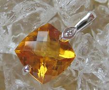 🎁 Diamant Anhänger in aus 375 Gold Anhänger mit Citrin Anhänger Diamond Pendant