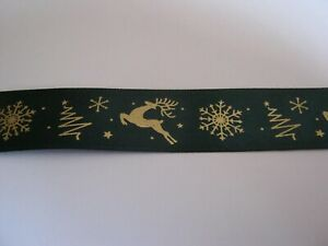 """CHRISTMAS SATIN RIBBON! GREEN with GOLD REINDEER & SNOWFLAKES  *NEW*   1"""" & 5yds"""
