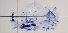 """Fliesen Bild 40x20 nach """" Delfter Delft Art"""" mit Windmühle, Leuchtturm, Schiff"""