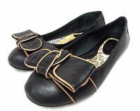 Born women's size 6.5 M black leather ballet flats bow top shoes comfort
