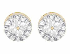 Yellow Gold Finish Princess Cut Simulated Diamond Round Cluster Stud Earring 9Mm