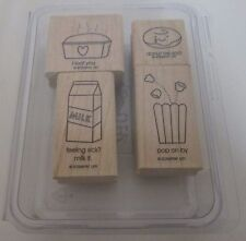 Stampin Up Comfort Food Set of 4 Stamps Mounted loaf you donut be sad pop on by