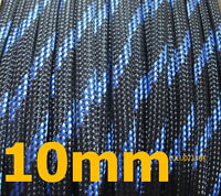 10mm BLK BLUE Expandable Braided DENSE Cable Sleeve x5m