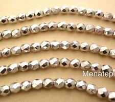 25 6 mm Czech Glass Firepolish Beads: Silver