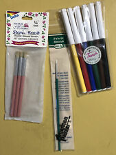 NEW Stencil Fabric Brushes Pens Mixed Lot of 3 Pks Delta Trends Loew-Cornell NOS