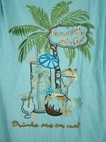 Paradise Palms Coconut Palm Bar Grill Embroidered Hawaiian Shirt Men's Size 2XLT