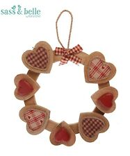 New Red Wood Heart Wall Door Hanging Decoration Wreath Country Sass & Belle