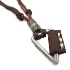 Mens Fashion Cool Triangle Vintage pendant Genuine leather necklace Charm Choker
