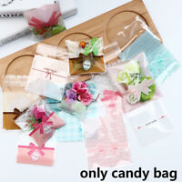 Wedding Favors Plastic Cookie Pocket Self-Adhesive Candy Bag Cute Bow Design
