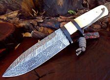 Full Tang Firestorm Pattern Damascus Steel Sub Hilt Bone Handle Bush Knife A8