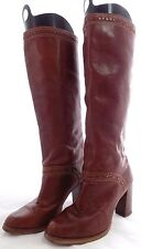 Zodiac Vintage Brown Leather Knee High Boots Heels // Women's Size 8M