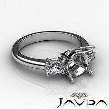 Diamond 3 Stone Engagement Oval Round Semi Mount Solid Ring 18k White Gold 0.5Ct
