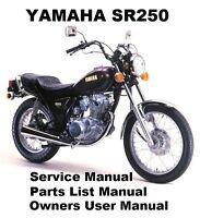 YAMAHA SR250 1979-99 - Owners Workshop Service Repair Parts Manual PDF on CD-R