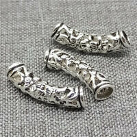 10pcs of 925 Sterling Silver Hollow Flower Curved Curve Tube Beads