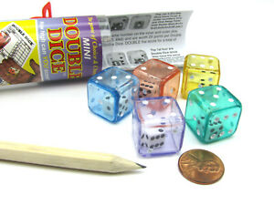 Double Dice Game with 5 Dice Travel Tube Pencil and Gaming Instructions