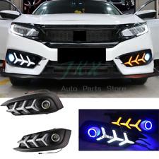 FISHBONE LED DRL COB Angel Eyes Fog Signal Light For Honda Civic Sedan 2016-2018