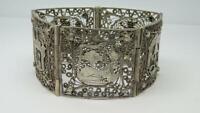 Vintage Ägyptische Silber Filigran Design Charakter Armband- 17.8cm Lang 41.8g