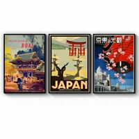 Set of Vintage Japanese Travel Advert Wall Art Print Poster Framed or Canvas