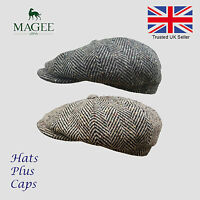 Donegal Grey & Brown Tweed Newsboy Peaky Blinders Flat Cap Bakerboy Gatsby Hat