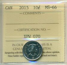 2015 Canada 10 Cent Certified ICCS MS-66