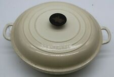 White/Cream Le Creuset Shallow Cast Iron Dish . ASHB219RG