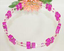 Kette Würfel Glas crash crackle Ab Acryl pink fuchsia magenta klar Strass 189k