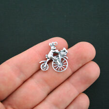 BULK 30 Bunny Charms Antique Silver Tone Bunny on Bicycle - SC600