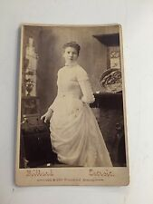 Antique Lady In White Cabinet Card Photo Millard Detroit Carved Chair Posing WOW