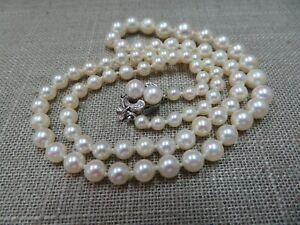 """19.5"""" Salt Water Graduated Pearl Necklace w/ 14k White Gold Pearl Diamond Clasp"""