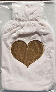 Wärmflasche Bezug Überzug 1,7 Liter flauschig + goldenes Herz Wärmflaschenbezug