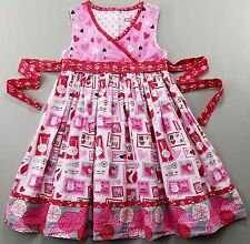 Jelly the Pug Girls Dress 10 Love Letters Abbey Pink Red Hearts Cotton kfp1