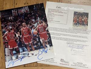 + Chicago Bulls Jordan Pippen Rodman Signed Autograph Photo 8x10 JSA