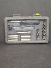 "CRAFTSMAN METRIC Socket Set 34801 USA 19-Piece 1/4"" Drive Vintage Ratchet Good"