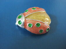 INSECT JEWELRY - LADY BUG Beetle *Colorful* Orange Green Yellow Brooch Pin