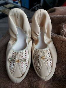 Retro 70-80s Pretty Polly Beige Foldable Keep Fit Dance Slippers Size S 4-5 NEW
