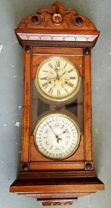 1890 Jerome Co. 'DNEISTER' REVERSIBLE MANTEL/HANGING Double Dial Calendar Clock