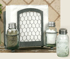 Farmhouse/Cottage/Primitive Chicken Wire Napkin, Mason Salt & Pepper Caddy