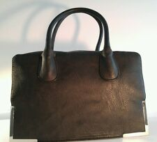 Black 100% Polyester Doctor's Style Handbag With Gold Bottom Trim