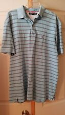 Tommy Hilfiger Men's Polo Shirt XL Light Blue with dk. blue and white stripes
