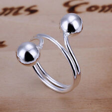 925 Sterling Silver Balls Beads Band Ring Size 8 B140