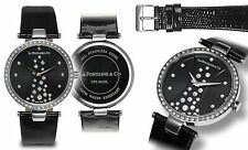 NEW La Fontaine & Co LFT-0425L Womens Starlight Black Dial Leather Watch crystal