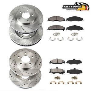 For Subaru Impreza Legacy Front+Rear Drill Slot Brake Rotors And Ceramic Pads