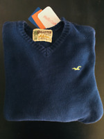 Men's Hollister & Co. Long Sleeve V-Neck Blue Cotton Sweater Sz. Small Pre-Owned
