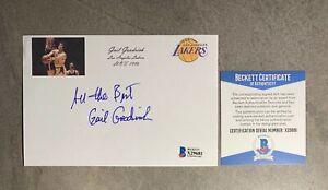 Gail Goodrich Signed 4x6 Index Card Cut Beckett BAS COA Los Angeles Lakers HOF