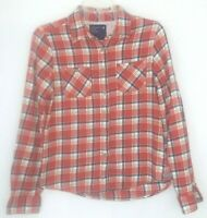 American Eagle Outfitters Womens Shirt Size 8 Button Front  Orange Plaid L/S Top