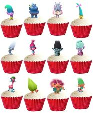 24 TROLLS Premium edible cup cake toppers decorations birthday party *STAND UPS*