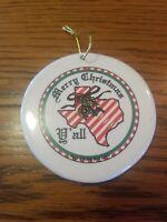 Vintage Porcelain Texas MERRY CHRISTMAS Y'ALL Christmas Ornament