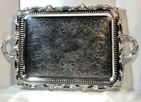 Birmingham Silver Co. Silver Plated Footed Tray Serving Tea Barware Tray