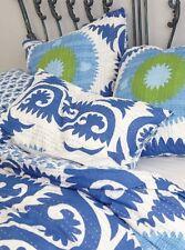 Anthropologie Sham YALOVA Standard Pillow Pair Hand-Screened Cotton Blue NWT